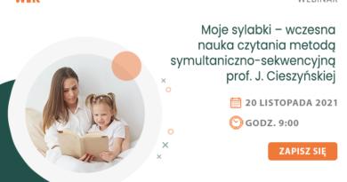 WEBINAR: Moje sylabki – wczesna nauka czytania metodą symultaniczno-sekwencyjną prof. J. Cieszyńskiej – 20.11.2021